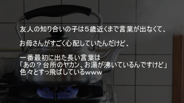 生まれて最初にしゃべった言葉「あの?台所のヤカン、お湯が沸いているんですけど」