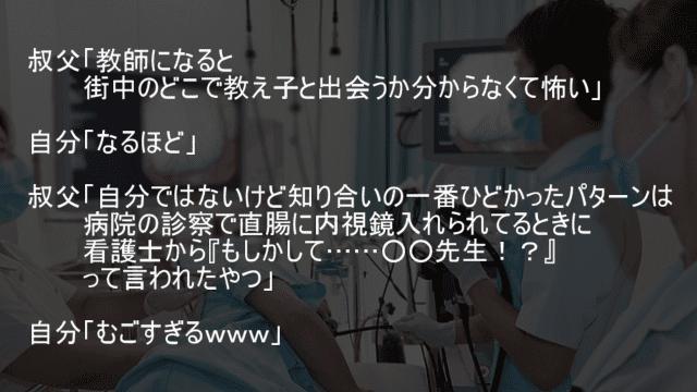 病院の診察で直腸に内視鏡入れられてるときの看護士が元教え子