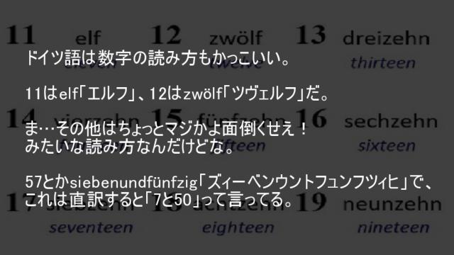 ドイツ語は数字の読み方もかっこいい