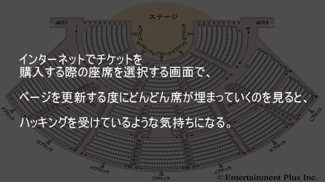 インターネットでチケットを購入する際の座席を選択する画面