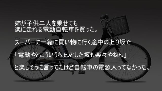 姉が子供二人を乗せても 楽に走れる電動自転車を買った