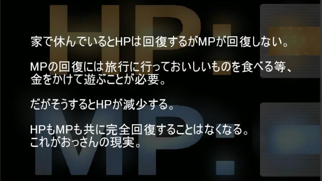 HPもMPも共に完全回復することはないこれがおっさんの現実