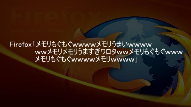 Firefoxのメモリ使用量