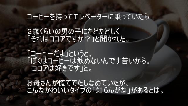 ぼくはコーヒーは飲めないんです苦いからココアは好きです