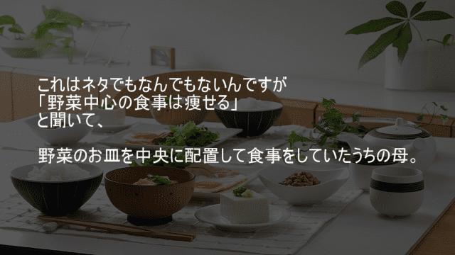 野菜中心の食事は痩せる 野菜のお皿を中央に配置する母